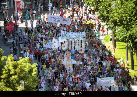Munich, Germany. 04th June, 2015. Demonstrators participate a protest against the G7 Summit in Munich, Germany, - Stock Photo
