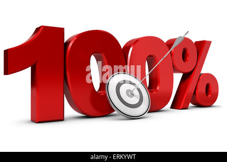3D render of the number one hundred with one target and an arrow in the center, One hundred percent goal concept. - Stock Photo