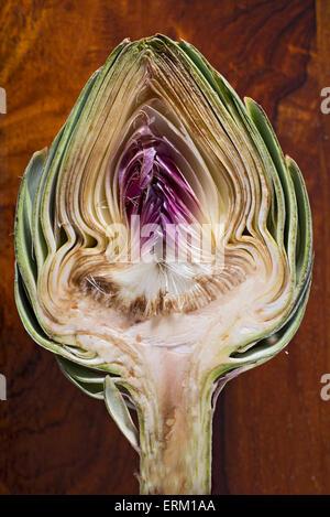 Close up of an artichoke cut in half - Stock Photo