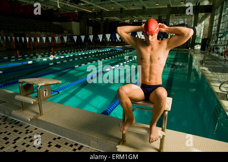 James Logan a competitive swimmer getting ready to train in Salt Lake City, - Stock Photo