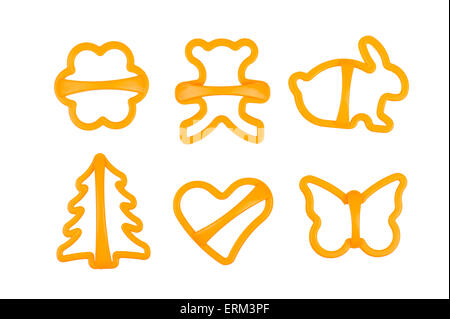 set of cookie cutters isolated on white - Stock Photo