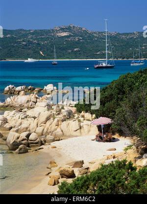 Beach view, Capo Capaccia, Costa Smeralda, Olbia-Tempio Province, Sardinia, Italy, Europe - Stock Photo