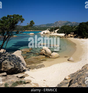 Beach view, Capo Capaccia, Costa Smeralda, Sardinia, Italy, Europe - Stock Photo