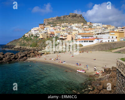 View of beach and Doria Castle, Castelsardo, Sassari Province, Sardinia, Italy, Europe - Stock Photo