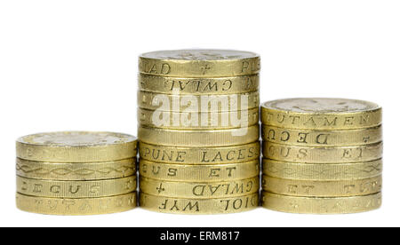 Stacks of £1 coins, the currency.in the United Kingdom, on a white background. - Stock Photo