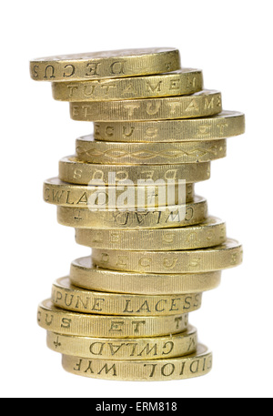 Stack of old £1 coins, the currency in the United Kingdom, on a white background. Stack of coins cutout. - Stock Photo