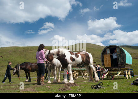 Appleby, Cumbria, UK. 04th June, 2015. Travellers heading to the Appleby Horse Fair 2015, stop for a break at Watergap - Stock Photo