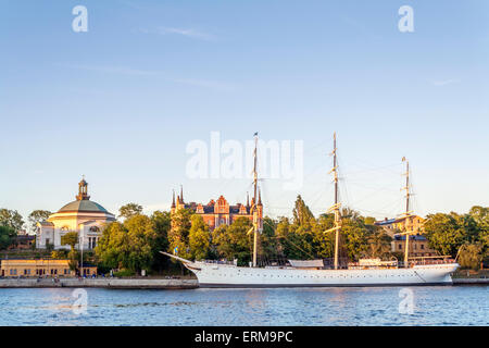 View of Eric Ericsonhallen, the af Chapman sailing ship, on Skeppsholmen island, Stockholm- - Stock Photo