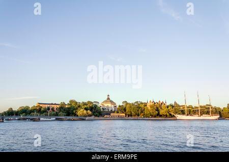 View of the af Chapman hostel sailing ship, on Skeppsholmen island, Stockholm - Stock Photo