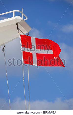 Denmark flag waving in a ship - Stock Photo