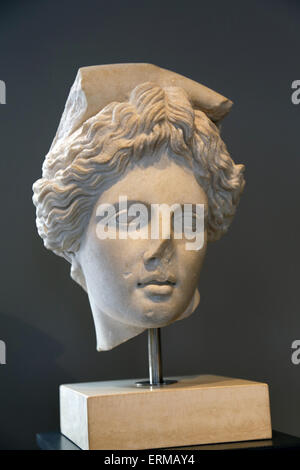 Head of Apollo. Marble, roman copy (2nd C AD) after the so-called Lycian Apollo, attributed to Praxiteles (4th C - Stock Photo