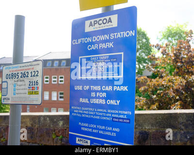 A daily tariff parking sign at the Clifton Down Station car park in Bristol. - Stock Photo