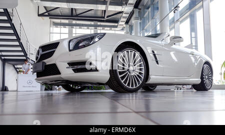 Inside in the office of official dealer Mercedes-Benz. - Stock Photo
