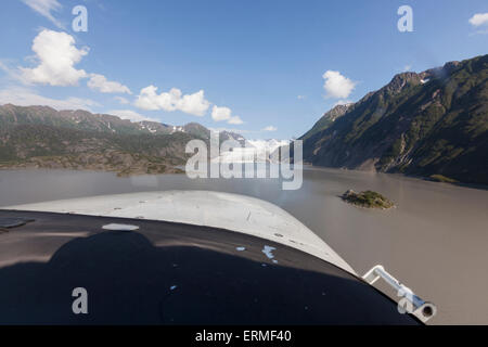 POV view from the cockpit of Grewingk Glacier and Kachemak Bay, Kachemak Bay State Park, Southcentral Alaska, Summer - Stock Photo