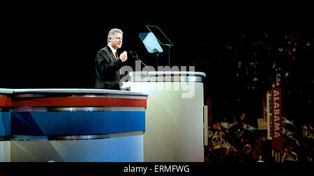 New York, NY. 7-16-1992 Arkansas Governor William Clinton accepts the nomination of the Democratic National Convention - Stock Photo