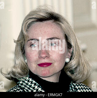 Washington, DC.,USA, 14th April 1993 First Lady Hillary Rodham Clinton photo op in the East Room of the White House. - Stock Photo