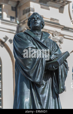 Martin Luther Memorial at the Frauenkirche, or Church of Our Lady, historic centre, Dresden, Saxony, Germany - Stock Photo