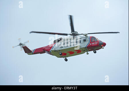 The Scottish Search and Rescue Coastguard S92A helicopter based at Inverness.  SCO 9844. - Stock Photo