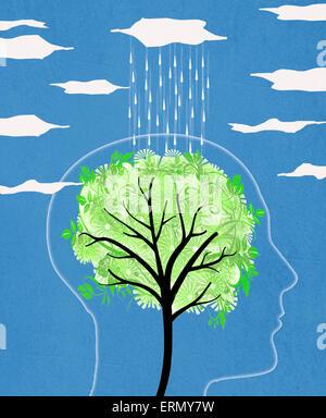 head silhouette with tree and rain  digital illustration - Stock Photo