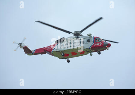 The Scottish Search and Rescue Coastguard S92A helicopter based at Inverness.  SCO 9845. - Stock Photo
