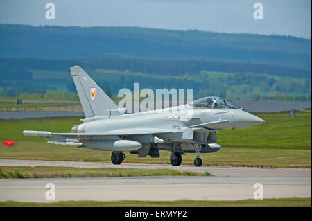 Eurofighter Typhoon fast fighter jet preparing to take off from RAF Lossiemouth home base in Scotland.  SCO 9852. - Stock Photo