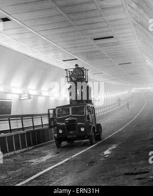 Work still in progress on the air ventilators in the new Clyde tunnel in Glasgow which connects the districts of - Stock Photo