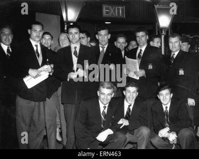 Birmingham City football club players pictured at a London casino.  2nd March 1956. - Stock Photo