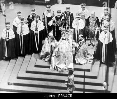The Coronation of Queen Elizabeth II was the ceremony in which the newly ascended monarch, Elizabeth II, was crowned - Stock Photo
