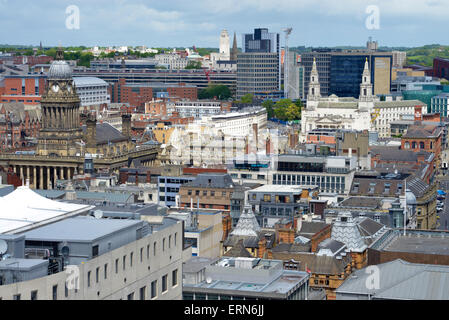 high angle view of leeds town hall, civic hall and university yorkshire united kingdom - Stock Photo