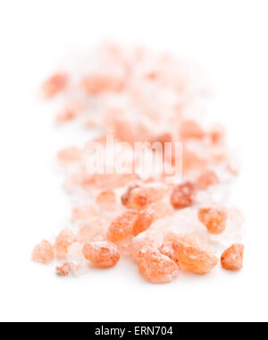 Himalayan salt on white background - Stock Photo