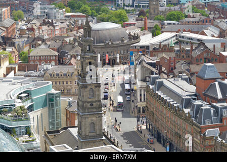 high angle view of leeds holy trinity church and the trinity centre and corn exchange yorkshire united kingdom - Stock Photo