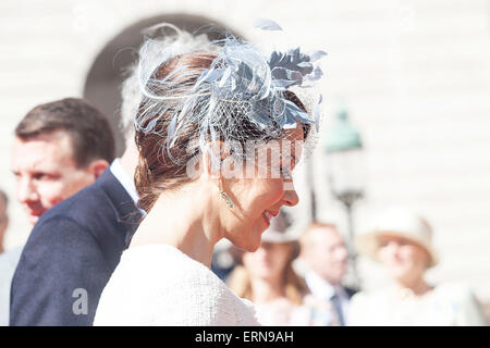 Copenhagen, Denmark, May 5th, 2015: Danish Crown Princess Mary on her way into the Parliament where she and the - Stock Photo