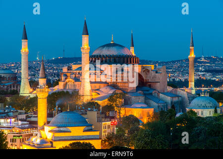 Night top view over Hagia Sophia, Sultanahmet, Istanbul, Turkey - Stock Photo
