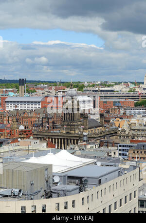 high angle view of leeds town hall built in 1858 designed by cuthbert brodrick  yorkshire united kingdom - Stock Photo