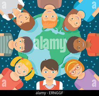 Modern flat vector conceptual square illustration of children of different races around the Earth in front of the - Stock Photo