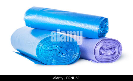 Multicolored rolls of plastic garbage bags isolated on white background - Stock Photo