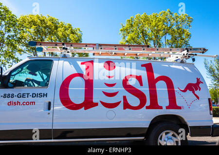 a dish network installers truck in california stock photo dish network installers