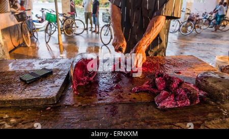 Negombo fish market (Lellama fish market), close up of a man gutting fish, Negombo, West Coast of Sri Lanka, Asia - Stock Photo