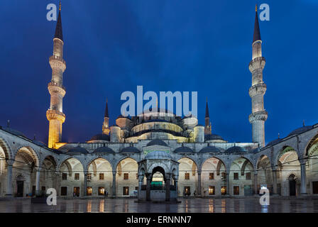 Nigh view of the New Mosque ( Yeni Cami) - Stock Photo