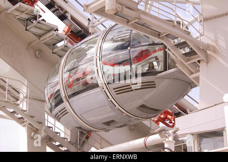 LONDON, UK -  10th May 2015: Since January 2015, London Eye is sponsored by Coca Cola. Their logo can be seen on - Stock Photo
