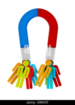 Colored People Art Magnet Attracting Multi Shapes Stock Photo