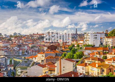 Porto, Portugal Cityscape from Vila Noval de Gaia. - Stock Photo
