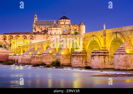 Cordoba, Spain old town skyline at the Mosque-Cathedral and Guadalquivir River. - Stock Photo