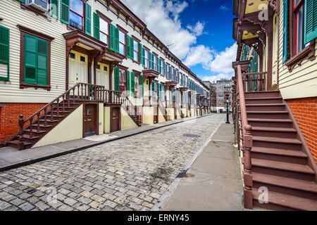 New York City, USA at townhouses in the Jumel Terrace Historic District.