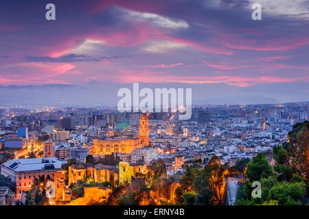 Malaga, Spain cityscape at the Cathedral, City Hall and Alcazaba citadel of Malaga. - Stock Photo