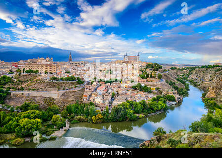 Toledo, Spain old town skyline on the Tagus River. - Stock Photo