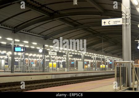 Railway station. Platform and tracks of the train station in Katowice, Poland. - Stock Photo