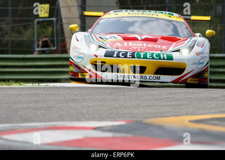 Imola, Italy – May 16, 2015: Ferrari F458 Italia GT3 of Af Corse Team,  in action during the European Le Mans Series - Stock Photo