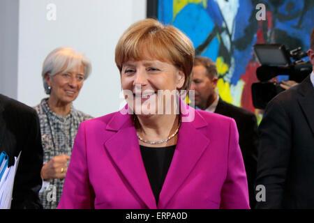 Christine Lagarde, BKin Angela Merkel u.a. - Treffen der Bundeskanzlerin mit den Vorsitzenden internationaler Wirtschafts - Stock Photo