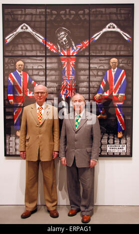 JUNE 12, 2009 - BERLIN: the artist duo 'Gilbert and George' (Gilbert Proesch, George Passmore) at a press conference - Stock Photo